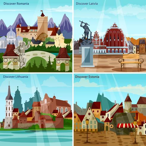 Set di icone di concetto di paesaggi urbani europei vettore