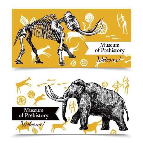 Banner disegnati a mano di mammut vettore
