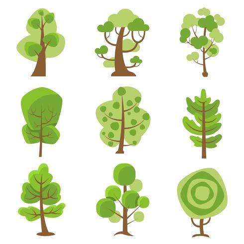 Icone decorative del fumetto di logo dell'albero vettore