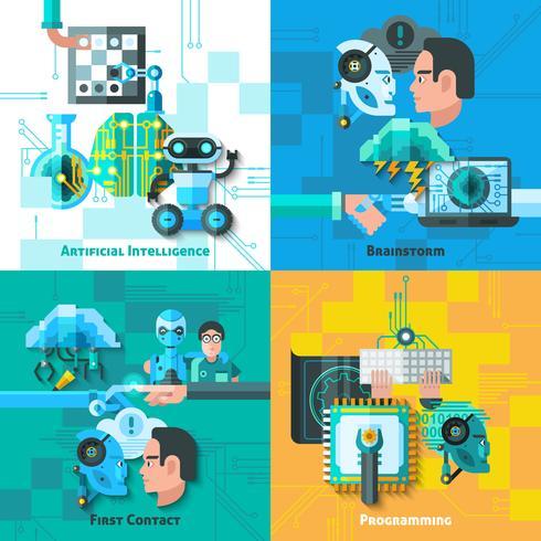 Set di icone di concetto di intelligenza artificiale vettore