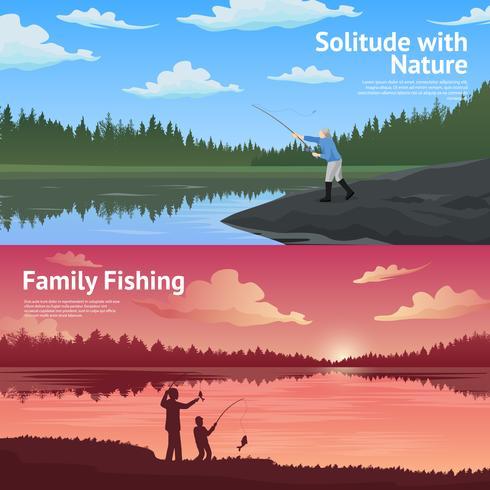 Set di bandiere orizzontali di pesca familiare vettore