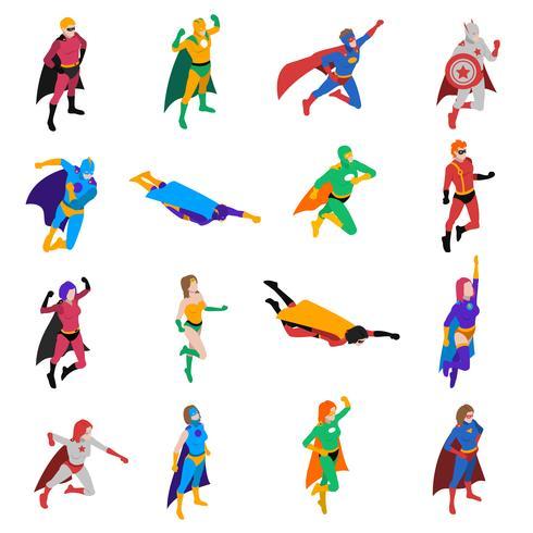 Set di icone isometriche di carattere popolare supereroe vettore