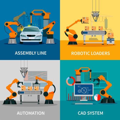 Set di icone di concetto di automazione vettore