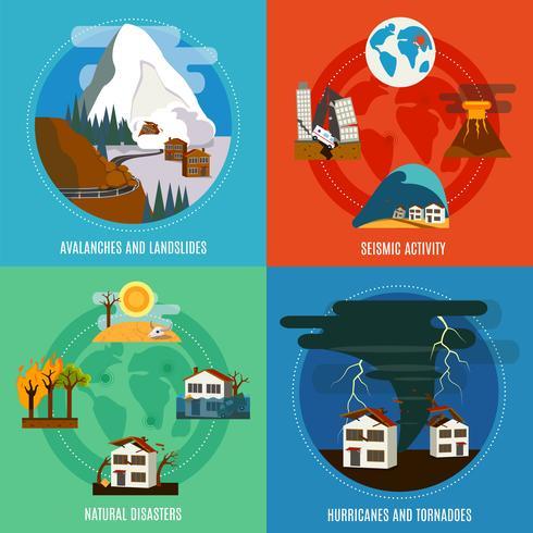Set di icone piane di disastro naturale 4 vettore