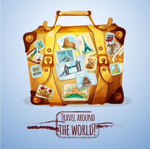 Valigia turistica con francobolli vettore