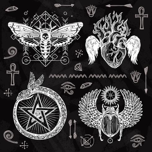Set di tatuaggi di lavagna vettore