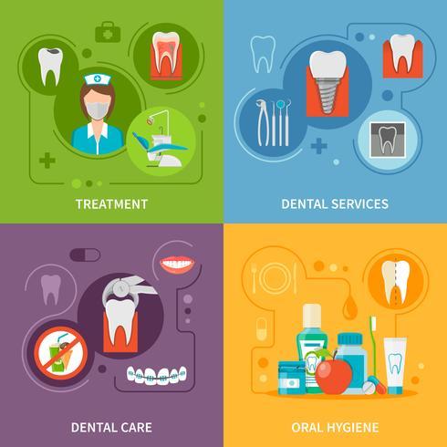 Set di icone di concetto di cure odontoiatriche vettore