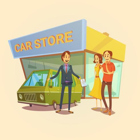 Concetto del commerciante e dei clienti di auto vettore