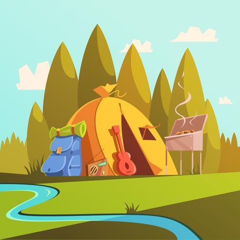 Escursionismo e illustrazione di tenda vettore