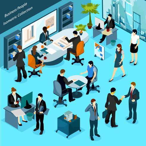 Collezione isometrica persone d'affari vettore