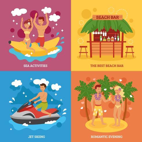 Set di icone della spiaggia vettore