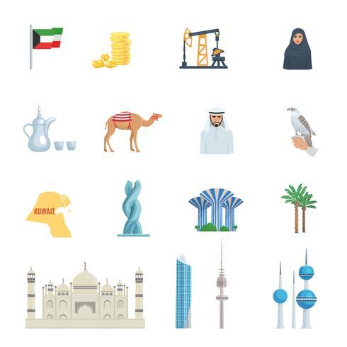 Set di icone piane di cultura del Kuwait vettore
