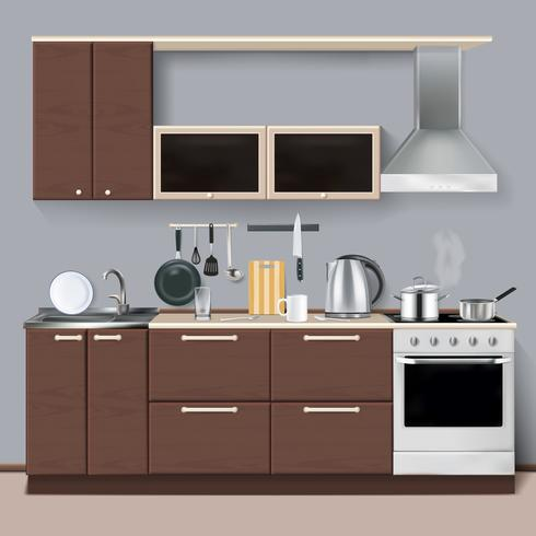 Interiore della cucina moderna in stile realistico vettore