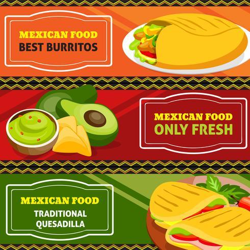 Set di bandiere orizzontali di cibo messicano vettore
