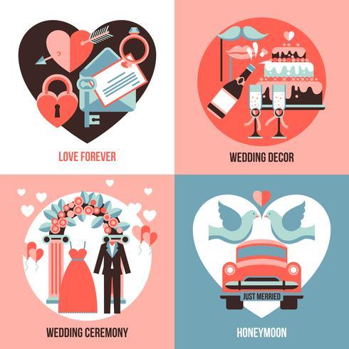 Matrimonio 2x2 immagini impostate vettore