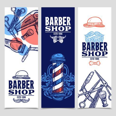 Set di banner verticali di Barber Shop 3 vettore