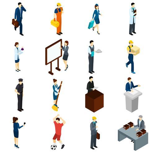 Set di icone isometriche professionali persone lavoro vettore