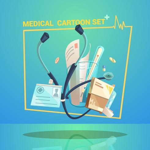 Set di oggetti medici vettore