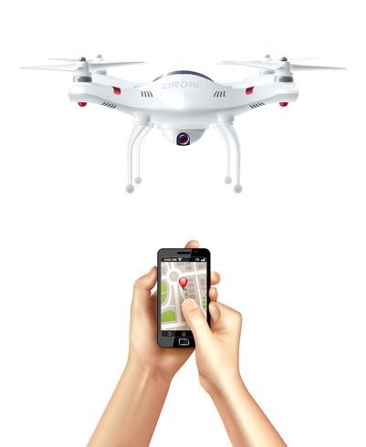 Drone e smartphone con app di navigazione vettore