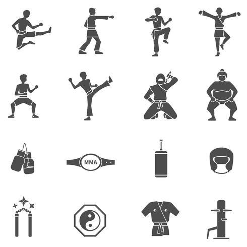 Set di icone bianche nere di arti marziali vettore
