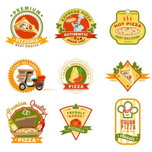 Set di emblemi per pizza vettore