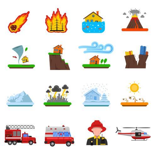 Raccolta piana delle icone di disastro naturale vettore