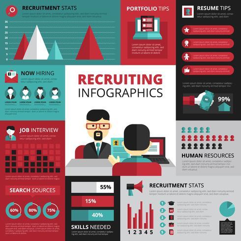 Banner di infografica piatta strategia di ricerca di lavoro vettore