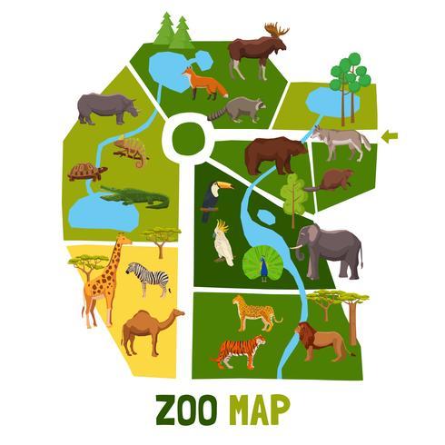 Cartone animato zoo mappa con animali vettore