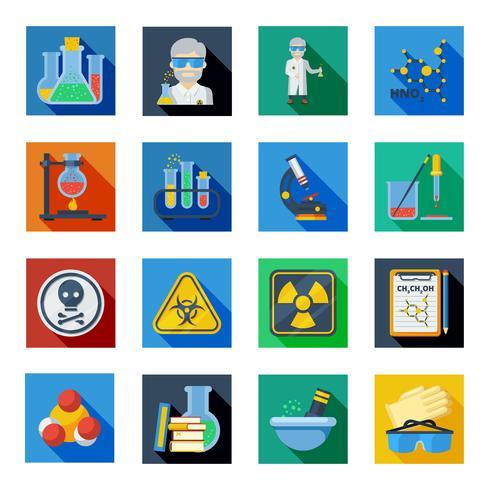 Icone piane di chimica messe nei quadrati variopinti vettore