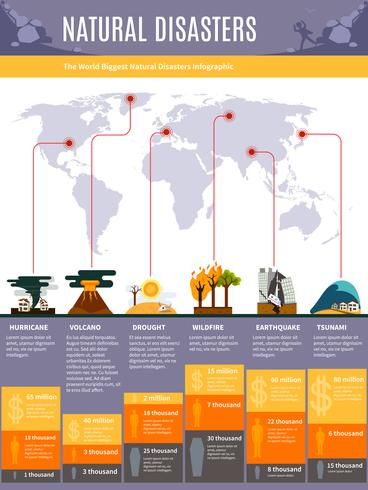 Infographics di disastri naturali vettore