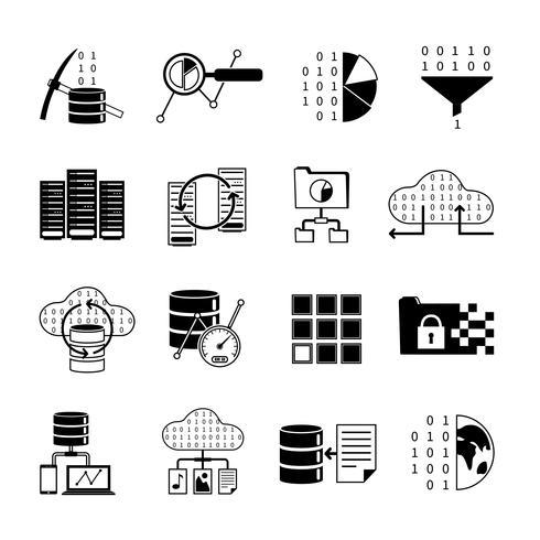 Icone nere di elaborazione dei dati vettore