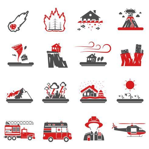 Raccolta nera rossa delle icone di disastro naturale vettore