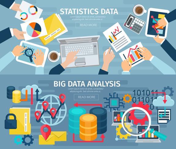 Set di banner orizzontali orizzontali di Big Data vettore