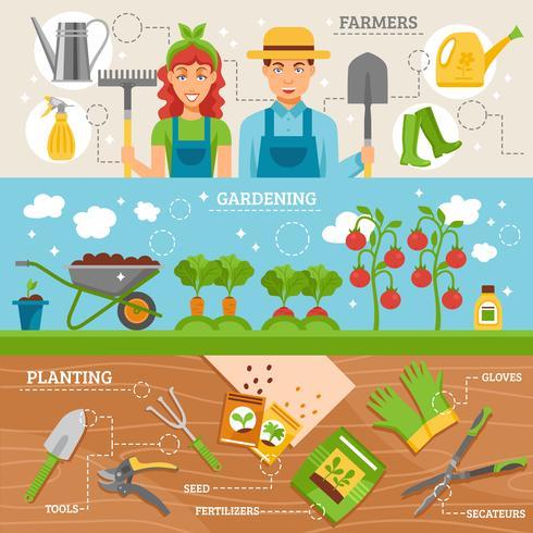 coltivatori che coltivano 3 insegne piane messe vettore