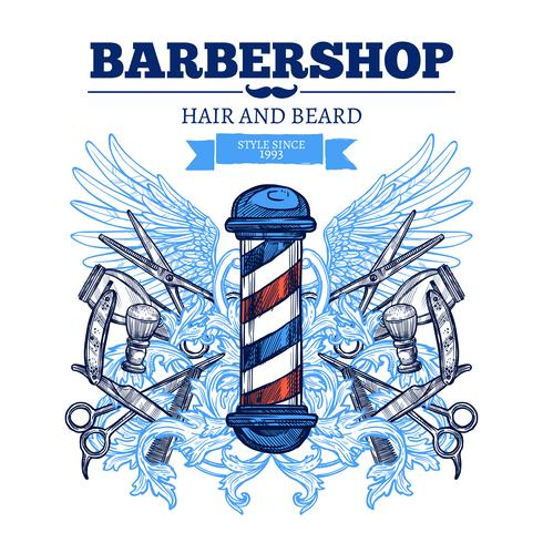 Poster di Barber Shop Advertisement Flat vettore