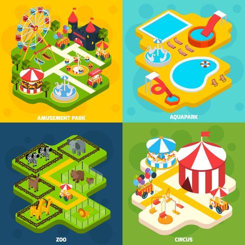 Parco divertimenti 4 isometrico quadrato di icone vettore