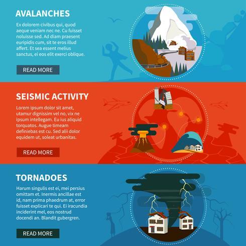 Insegne orizzontali di disastri naturali vettore