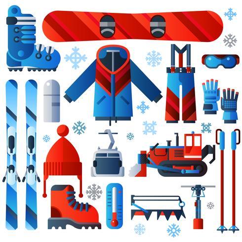 Icone piane isolate di colore dello sci vettore
