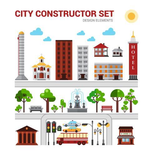 Set costruttore di città vettore