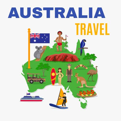 Australia Travel Map Poster vettore