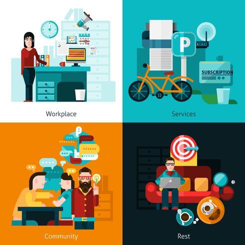 Set di icone di concetto di coworking vettore