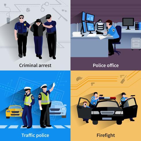 poliziotti persone composizioni di design 2x2 vettore