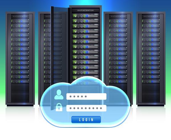 server racks icona di login realistica vettore