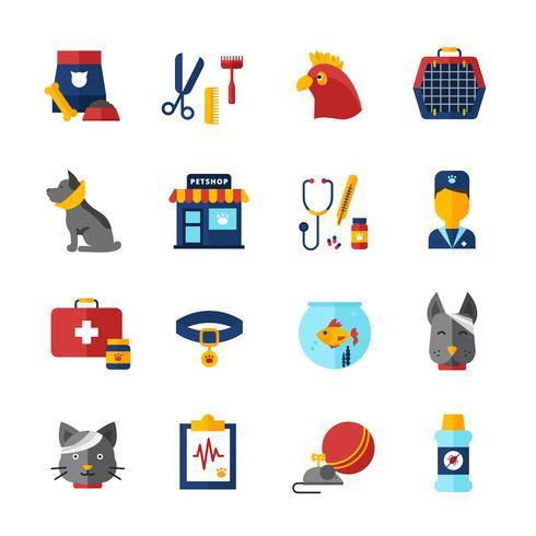 Set di icone veterinario veterinario vettore