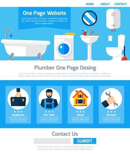 Idraulico Servizio One Page Website Design vettore