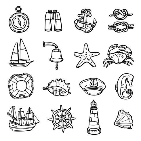 Set di icone bianco nero nautico vettore
