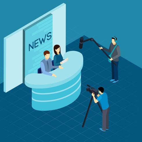 Giornalisti professionisti allo studio Banner isometrica vettore