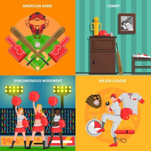Set di concetto di baseball vettore