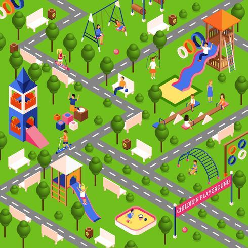 Illustrazione isometrica del parco giochi vettore