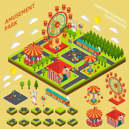 Composizione del creatore della mappa isometrica del parco di divertimenti vettore